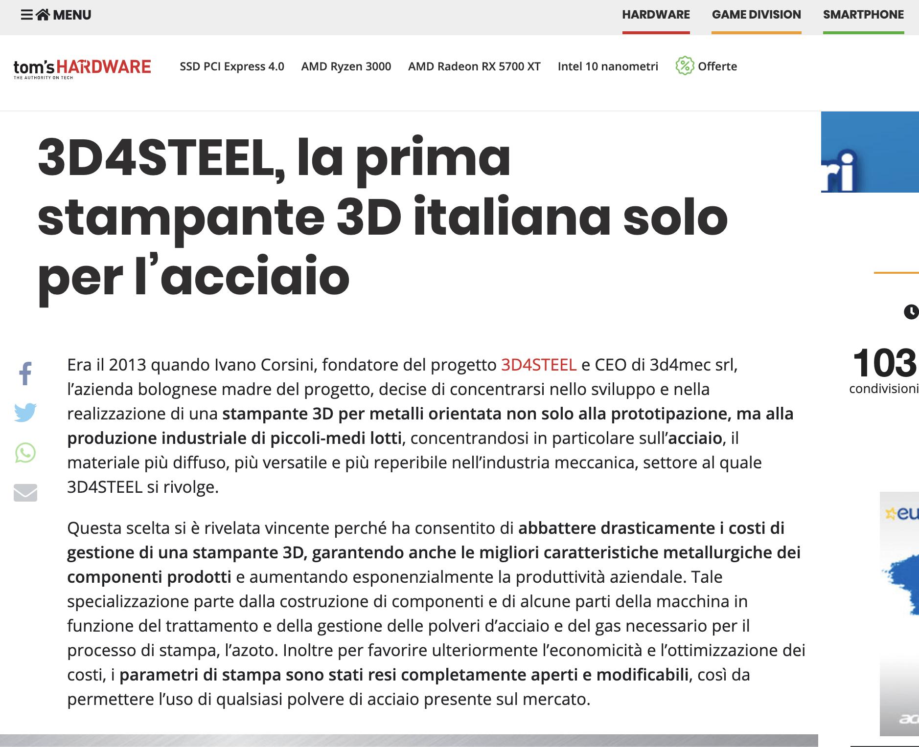[Tom's Hardware] 3D4STEEL, la prima stampante 3D italiana solo per l'acciaio