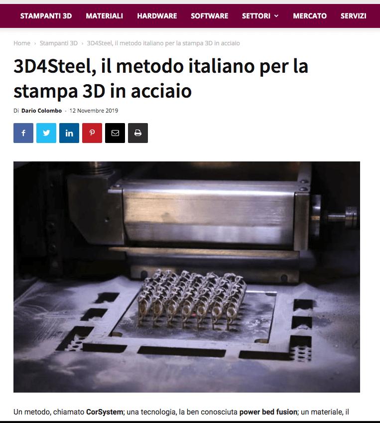 [3D Printing Creative] 3D4Steel, il metodo italiano per la stampa 3D in acciaio