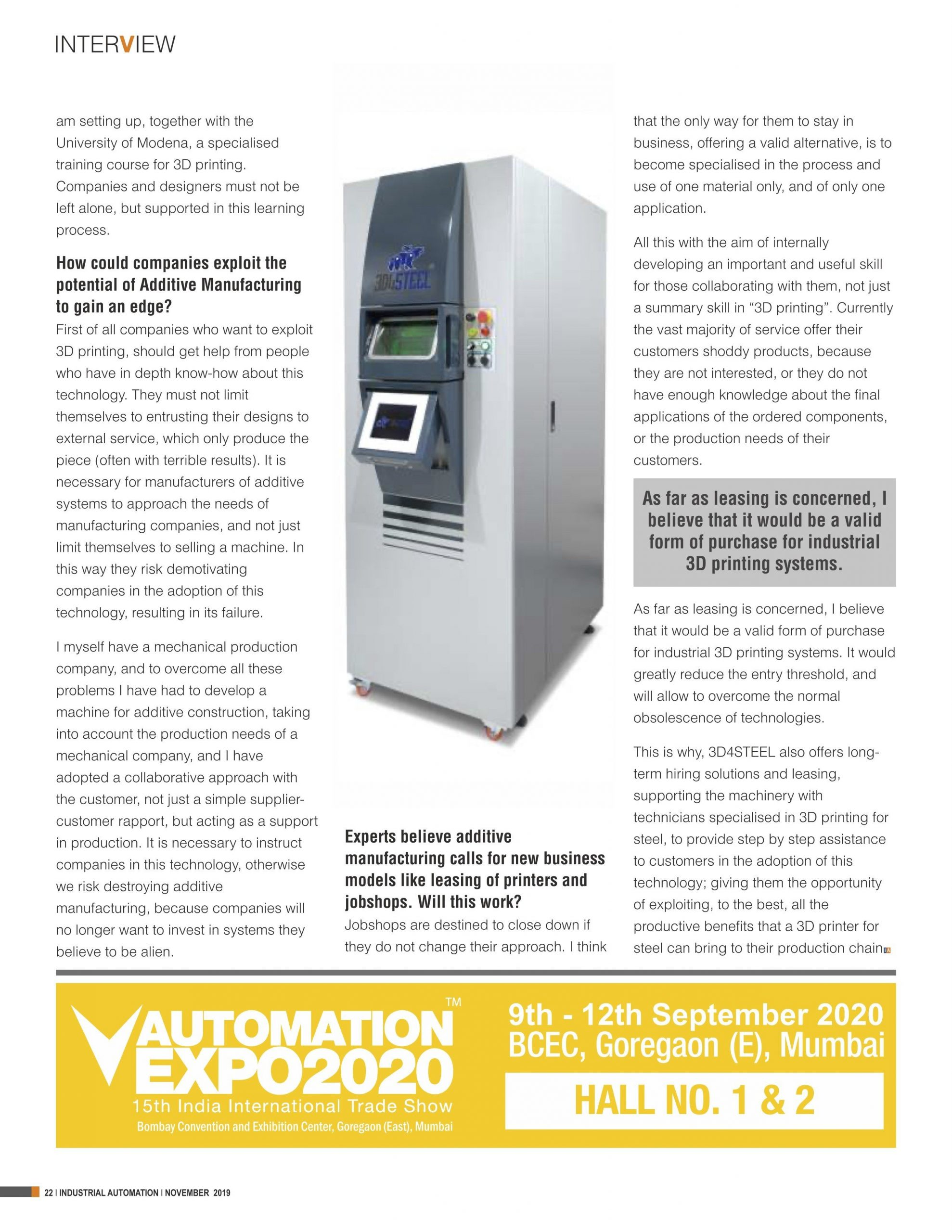 A 18 'Solutions for industrial scale 3D printing still remain too remote' part 2