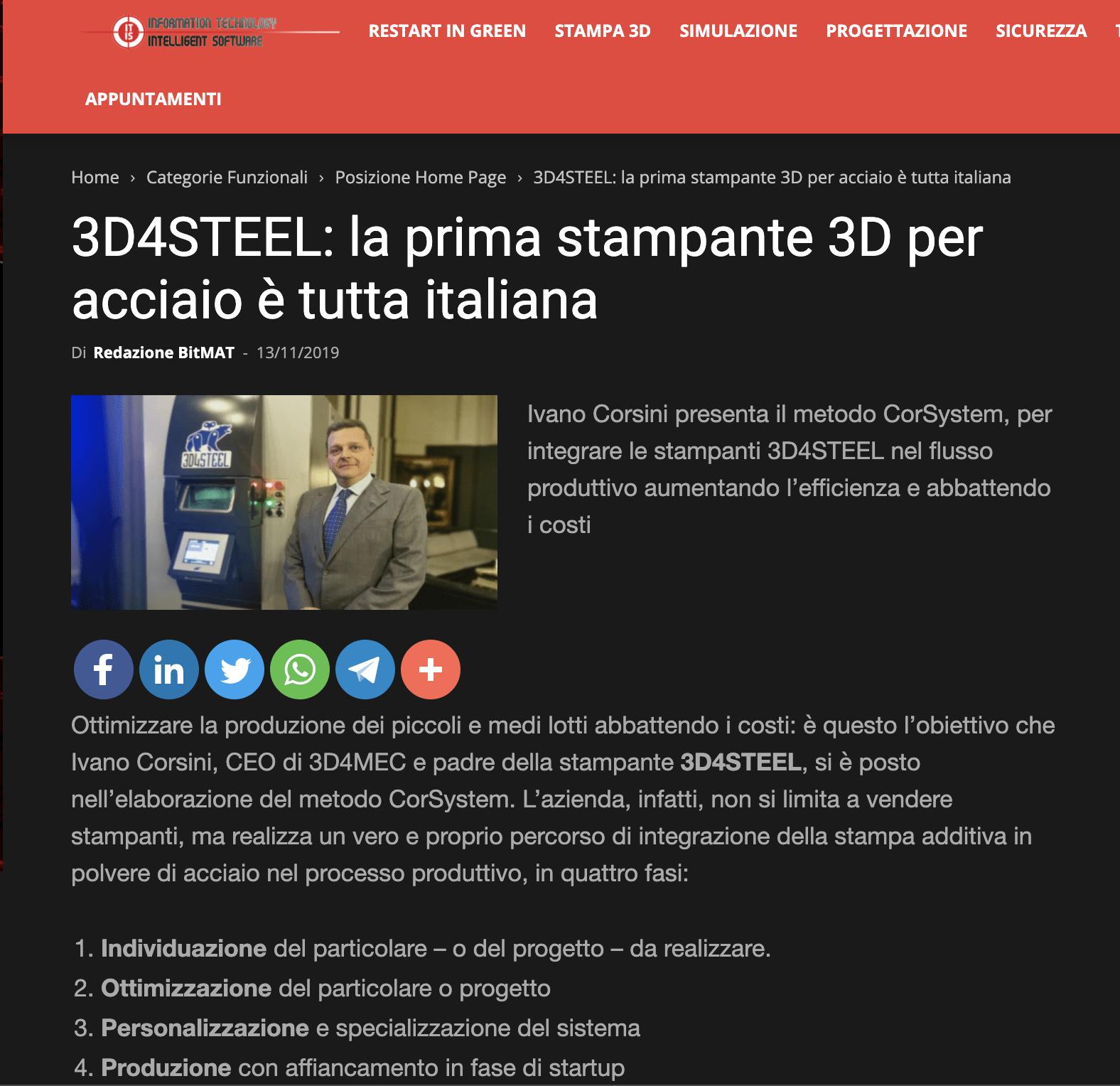 [ITIS Magazine] 3D4STEEL: la prima stampante 3D per acciaio è tutta italiana
