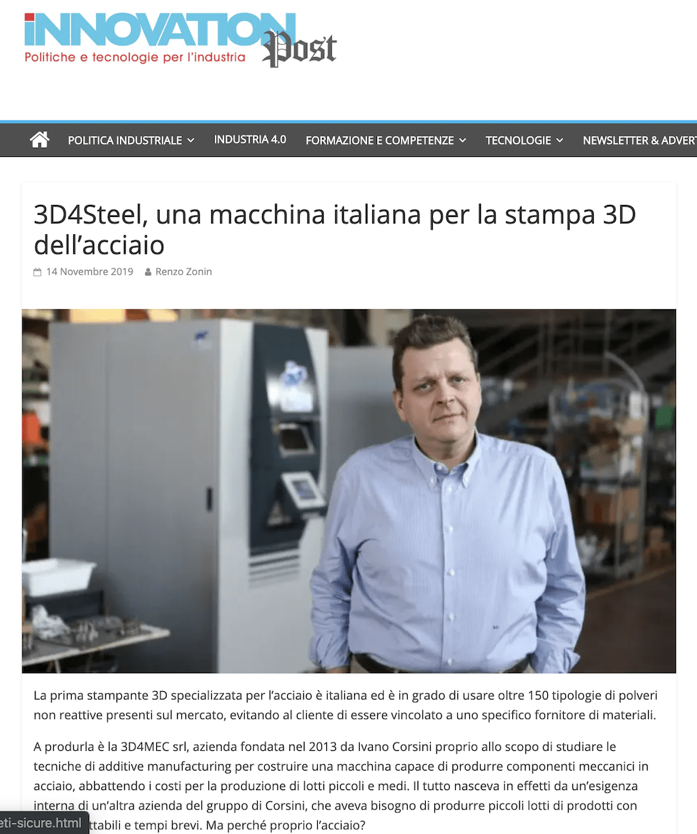 [Innovation Post] 3D4Steel, una macchina italiana per la stampa 3D dell'acciaio