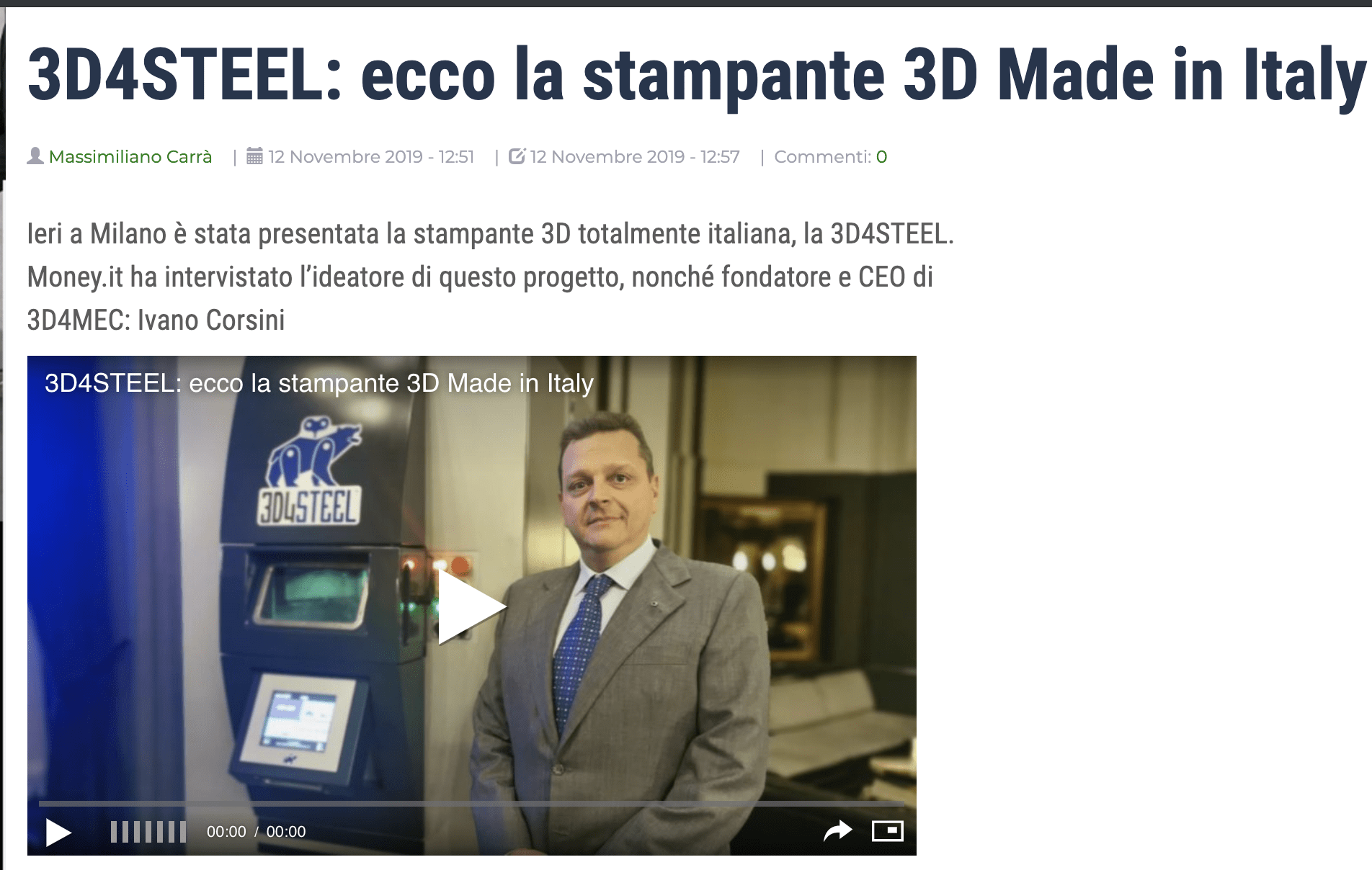 [Money.it] 3D4STEEL: ecco la stampante 3D Made in Italy