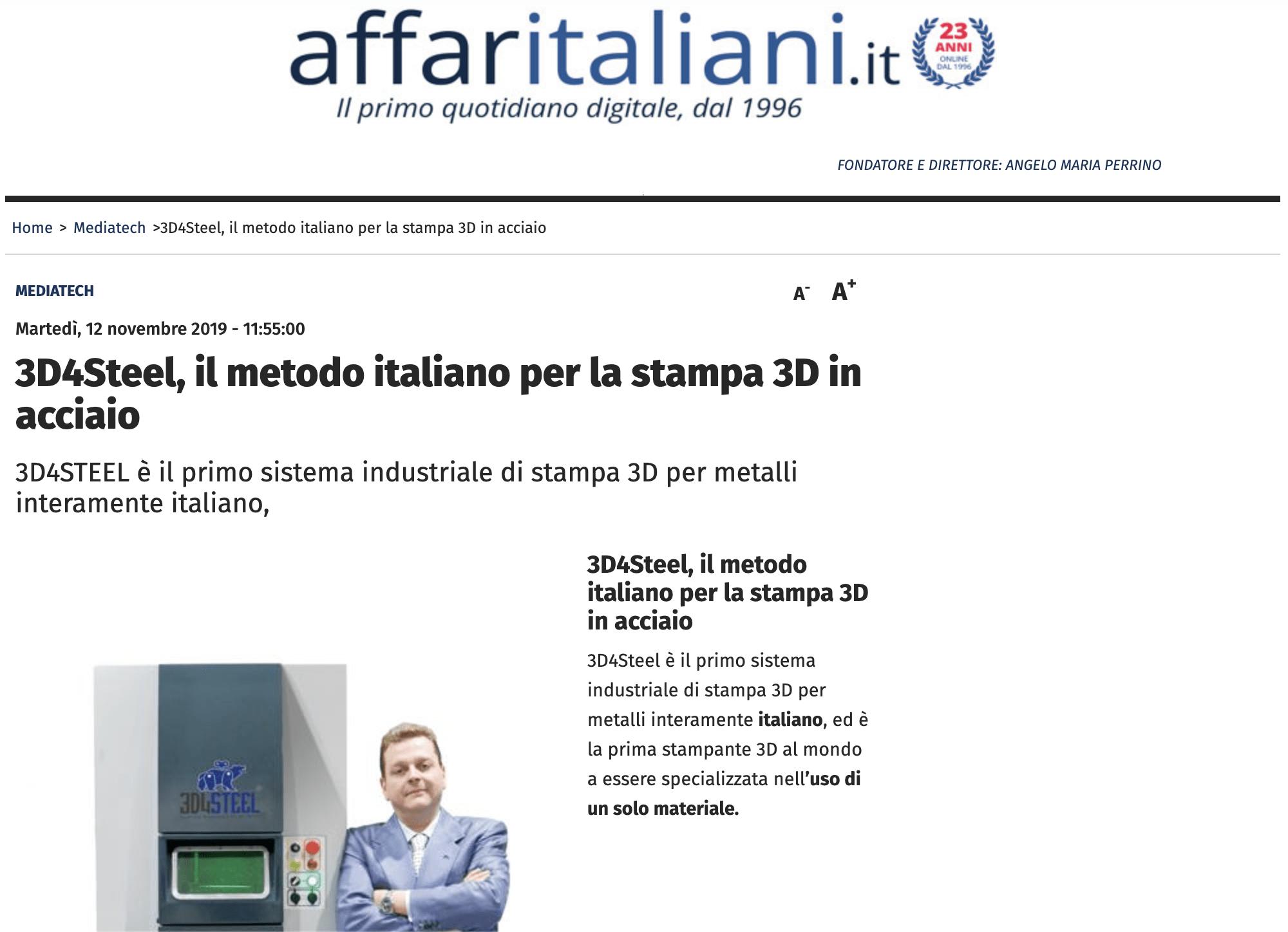 [Affari Italiani] 3D4Steel e il metodo italiano per la stampa 3D in acciaio