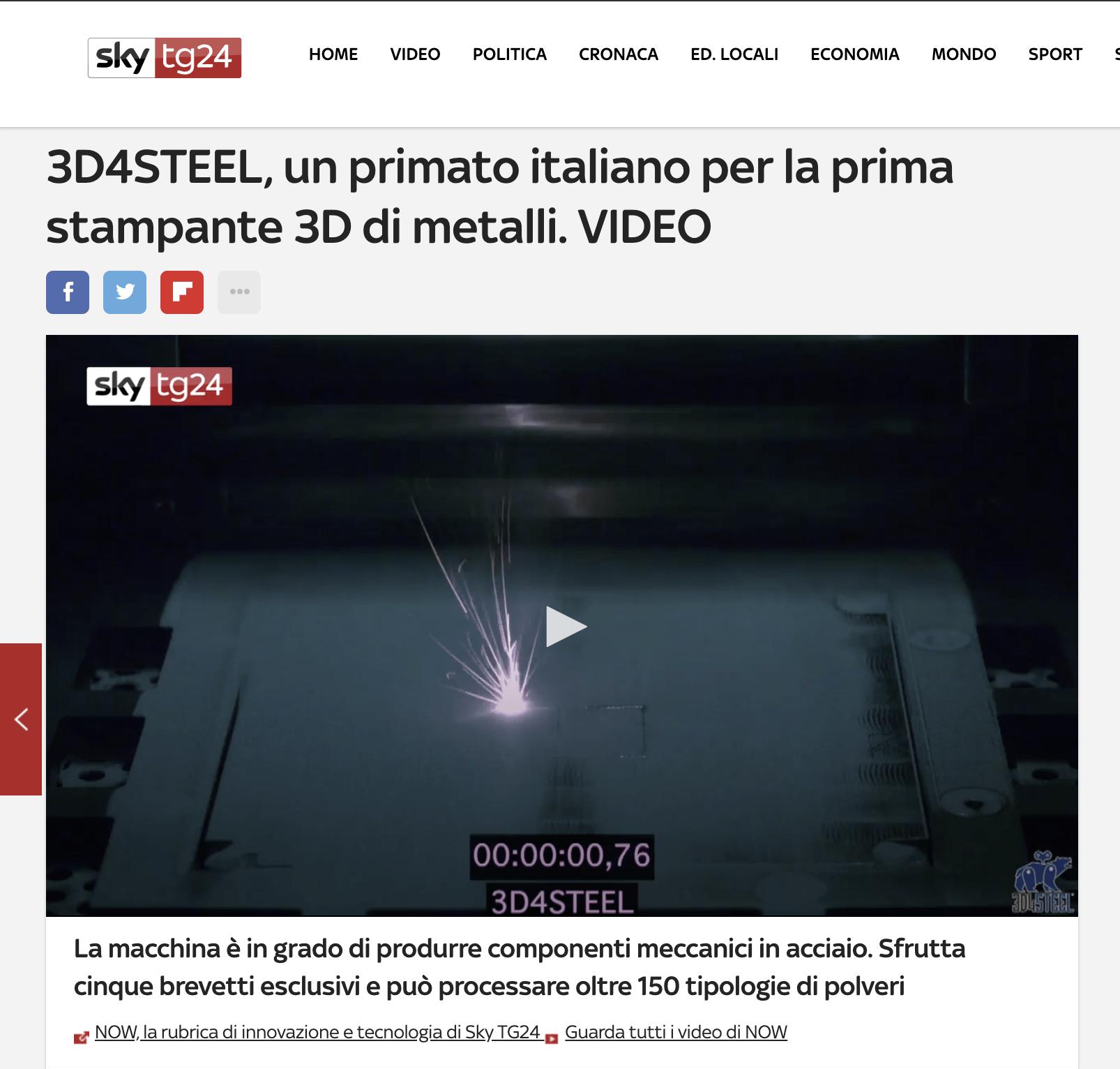 [Sky TG24] 3D4STEEL, un primato italiano per la prima stampante 3D di metalli
