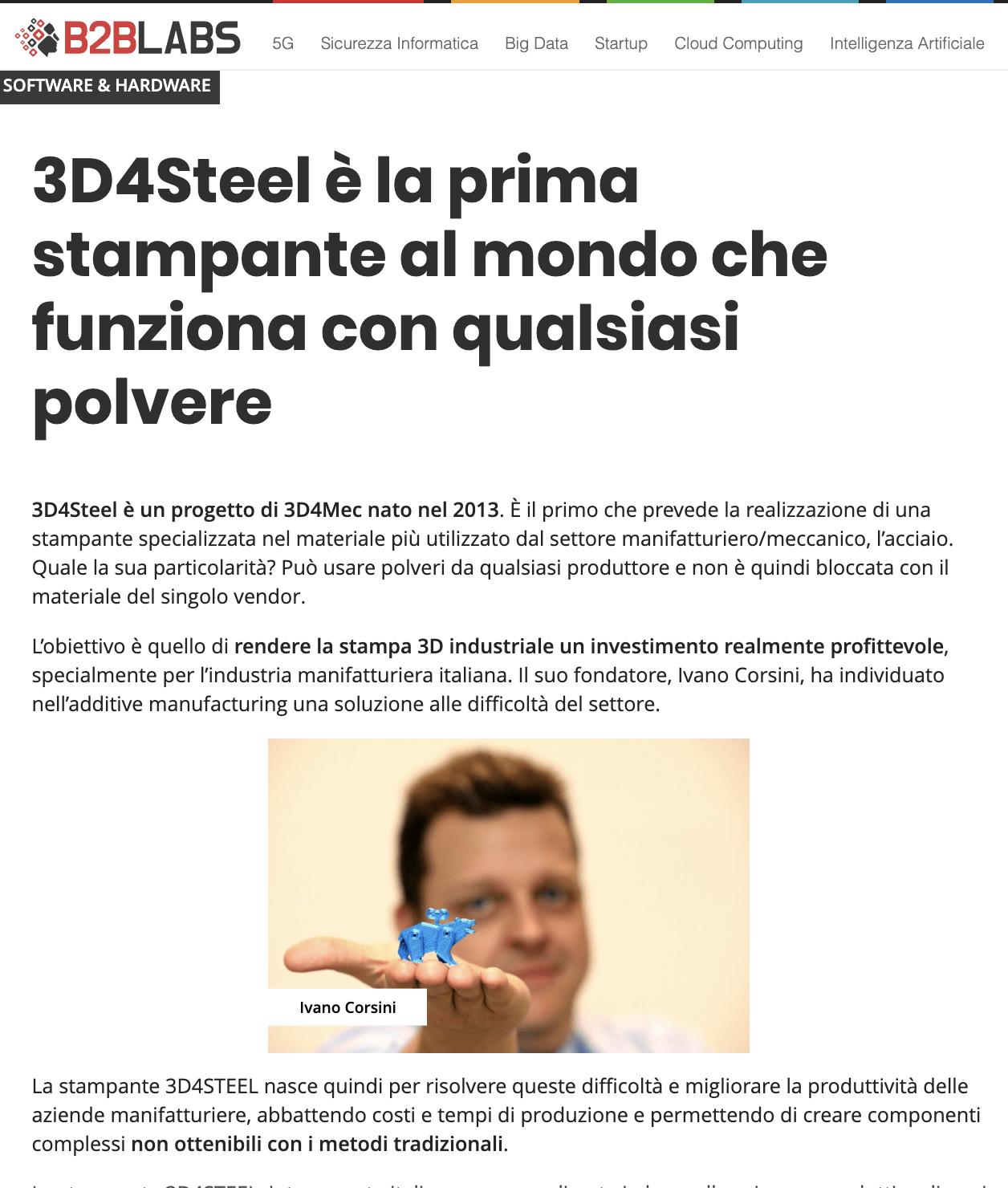 [Tom's Hardware B2B] 3D4Steel è la prima stampante al mondo che funziona con qualsiasi polvere