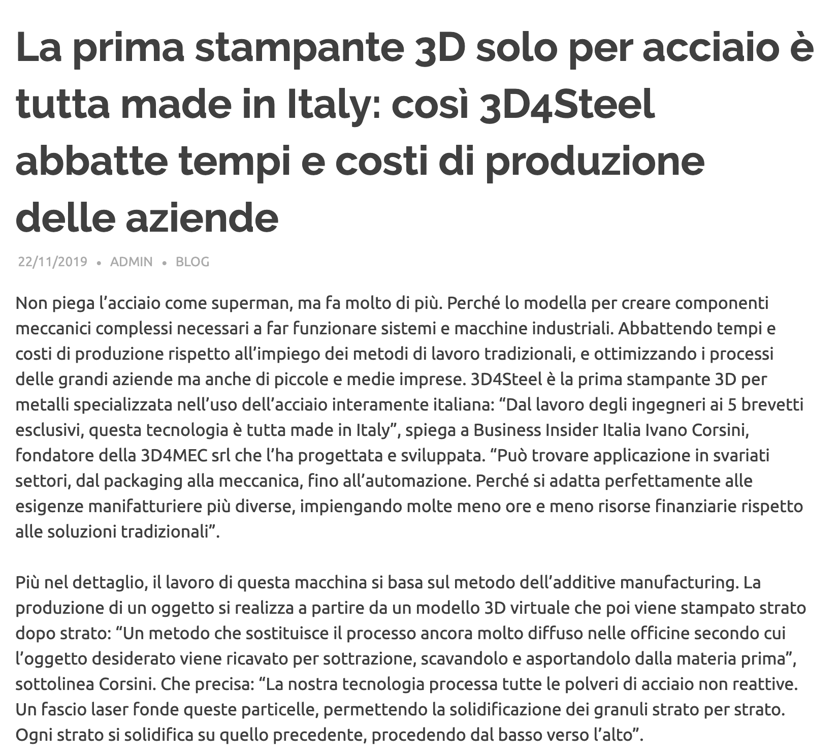 [Co-In] La prima stampante 3D solo per acciaio è tutta made in Italy: così 3D4Steel abbatte tempi e costi di produzione delle aziende