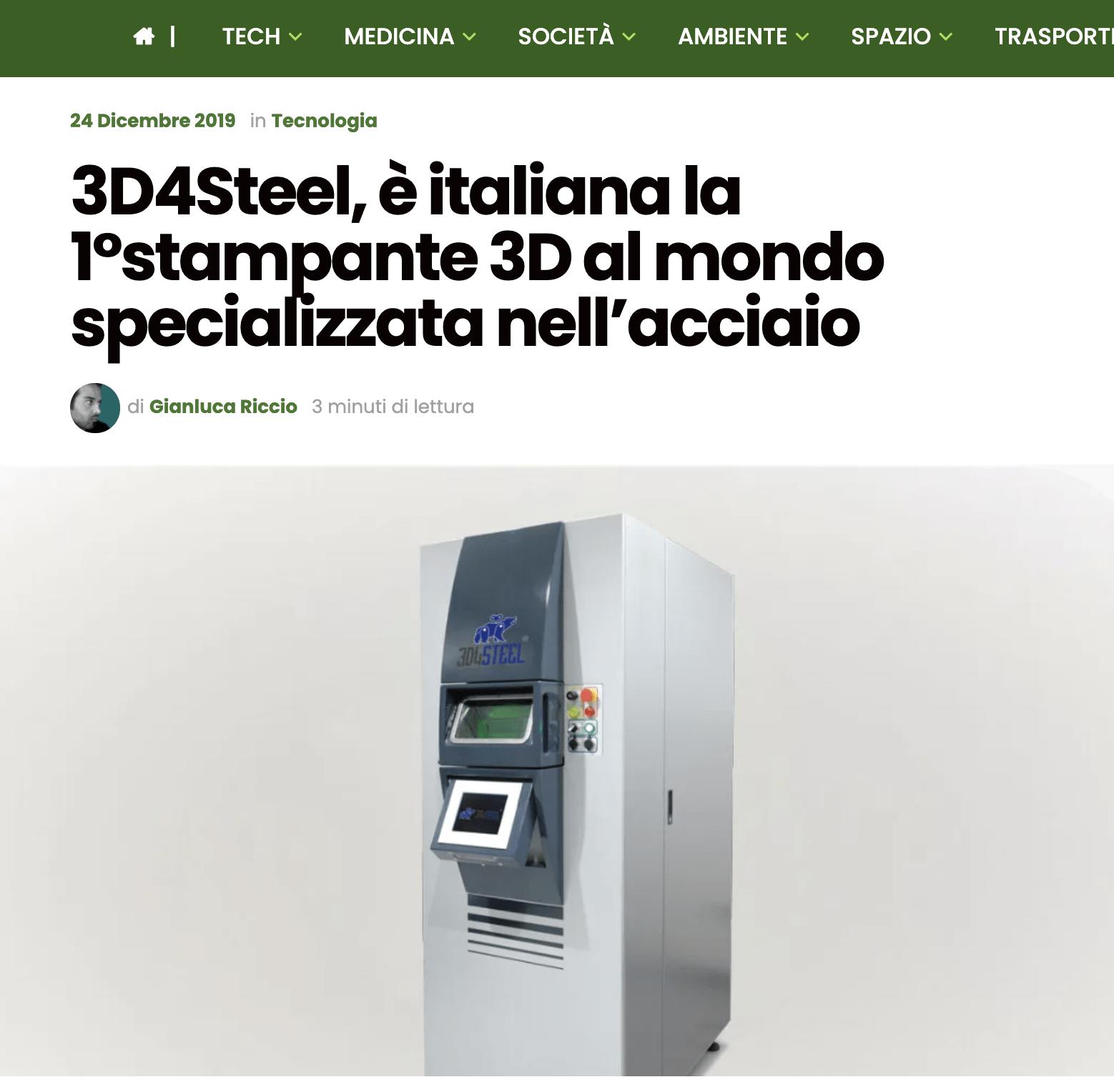 [Futuro Prossimo] 3D4Steel, è italiana la 1°stampante 3D al mondo specializzata nell'acciaio