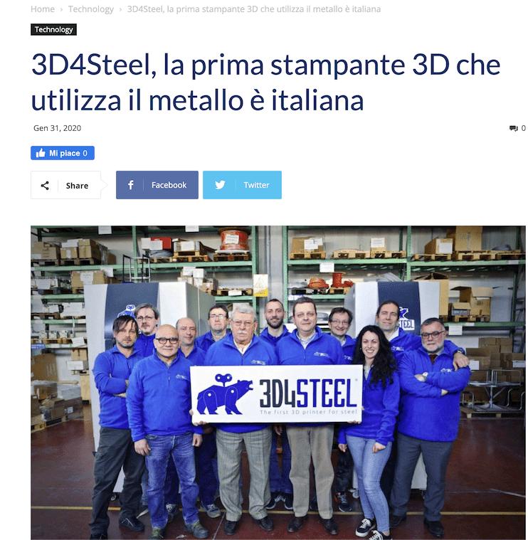 [Il Dispari] 3D4Steel, la prima stampante 3D che utilizza il metallo è italiana