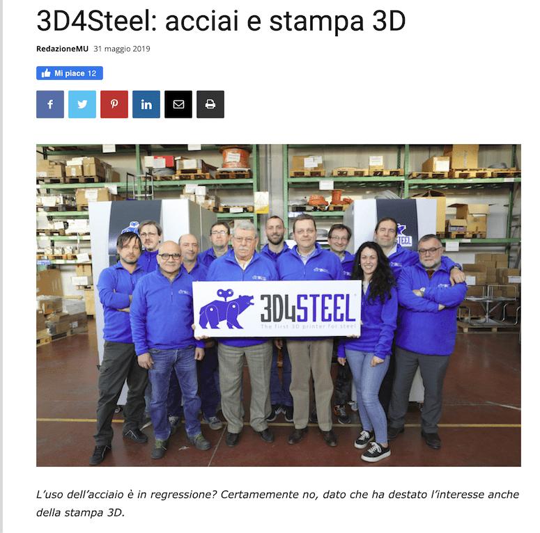 [Meccanica News] 3D4STEEL: acciai e stampa 3D