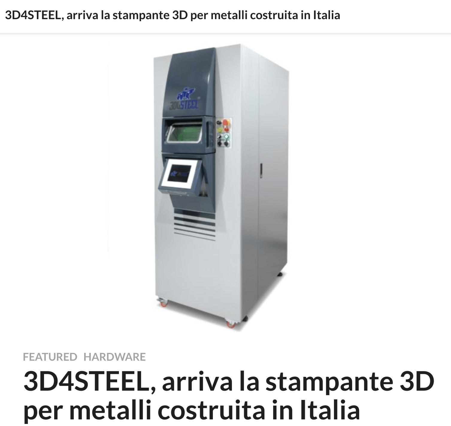 [Tech Business] 3D4STEEL, arriva la stampante 3D per metalli costruita in Italia