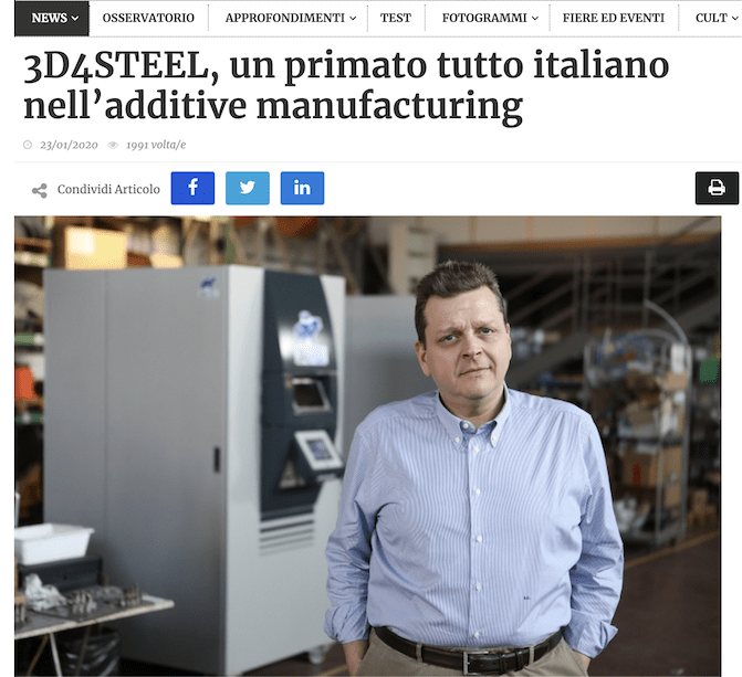[TecneLab] 3D4STEEL, un primato tutto italiano nell'additive manufacturing
