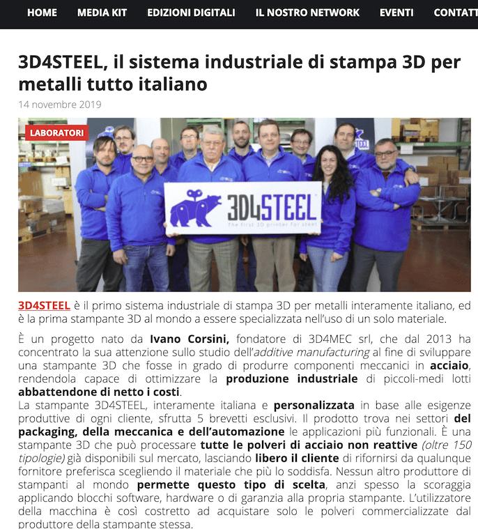 [Tecno Edizioni] 3D4STEEL, il sistema industriale di stampa 3D per metalli tutto italiano