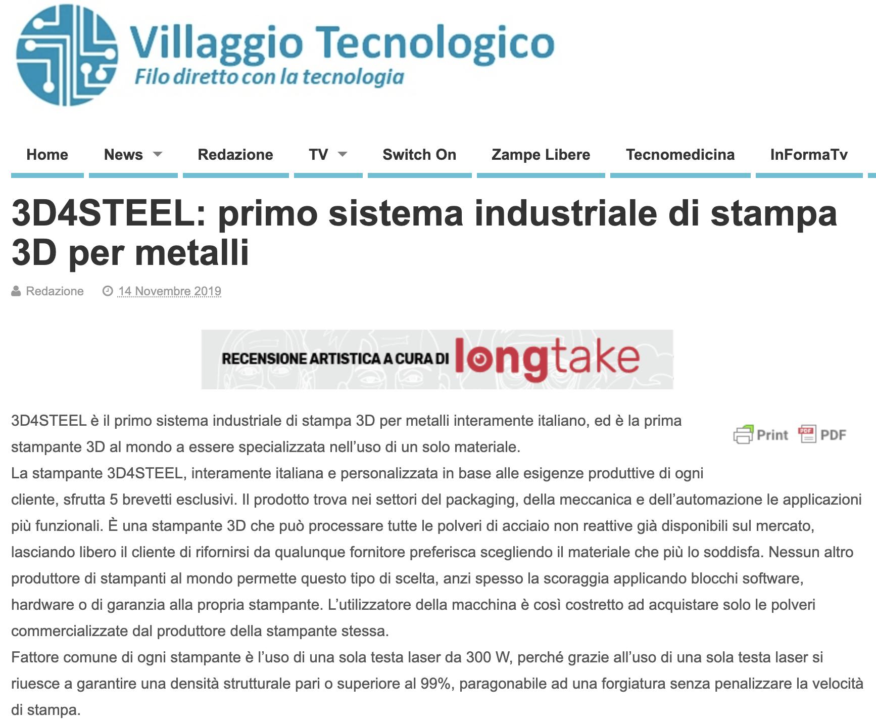 [Villaggio Tecnologico] 3D4STEEL: primo sistema industriale di stampa 3D per metalli